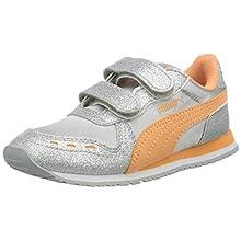 PUMA Girls' Cabana Racer Glitz V Inf Sneakers, Gray Silver-Cantaloupe White 04, 20 EU 4UK