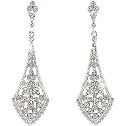 EVER FAITH® - Cristal Austriaco Art Deco Novia Chandelier Pendientes Plata-Tono Claro N04087-1