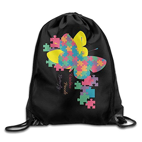 HLKPE Autism Awareness Rainbow Puzzle Butterfly Drawstring Bags Animal Backpack Shoulder Bags Gym Sport Pack