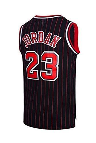 runvian NBA Jersey Michael Jordan Nr. 23 Basketball Trikot Chicago Jersey Bulls Basketball Weste Shirt Basketball Anzug für Herren Männer (Schwarz Streifen, M) (Trikot Michael Jordan)