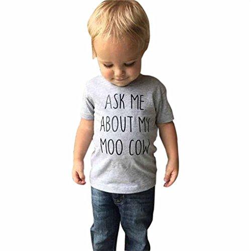 JYJM Kinder Kinder Baby Mädchen Jungen Kuh Innen Brief Weiche Oberteile Nette T-Shirt Kleidung Rundhals-Sweatshirt-Oberteil für Baby (3-7 Jahre) (90, Grau) ()