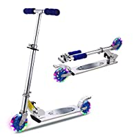 WeSkate Aluminum Alloy Scooter for Kids with LED Light Up Wheels, Adjustable Height Kick Scooter for Boys and Girls, Rear Fender Brake, Lightweight Folding Light Up Kids Scooter, 110lb Weight Capacity