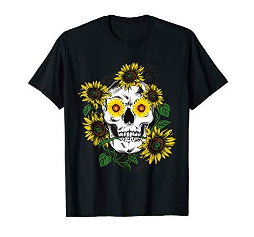 Skull Sunflower Funny Vintage Tattoo Gift Idea T-Shirt