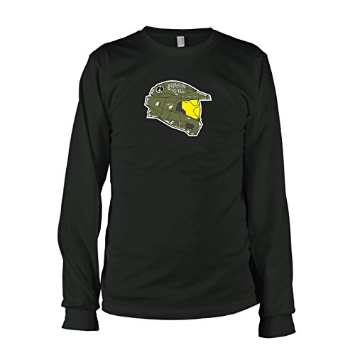 TEXLAB - Master Chief - Langarm T-Shirt, Herren, Größe M, schwarz (Master Chief Helm Kostüme)