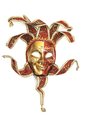 Karneval-Klamotten Venezianische Maske Joker Luxus Gold rot Karneval