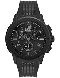 R&Co Men's Quartz Watch with Black Dial Chronograph Display and Black Rubber Strap RGS00005/46/19