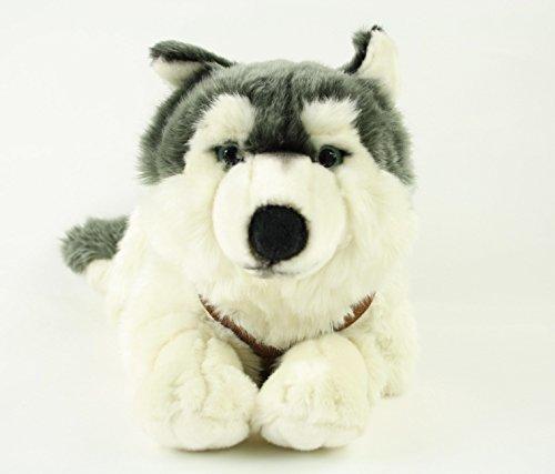 Preisvergleich Produktbild Uni-Toys, Husky, Akita, 38 cm, liegend, grau/weiß, Kuscheltier, Plüschtier