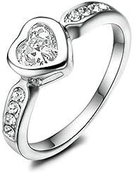 Yoursfs 18k or blanc plaqué Solitaire en Diamant de simulation et Cristal australien pavé de Bague de mariage ou Bague de fiançailles en forme de coeur pour Femmes ou Hommes