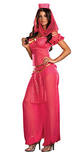 elly Dancer Jasmine Aladdin Arabian Nights Princess Costume (Medium, Red) ()