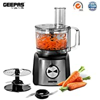 Geepas 1200W Compact Food Processor and Blender, Low Noise, Stainless Steel Blade with 1.2L Bowl Capacity & Two Speed and One Pulse Control - 2 Years Warranty