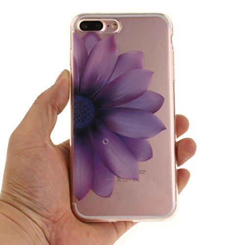 iphone 7 Plus Hülle,iphone 7 Plus Case,iphone 7 Plus Silikon Hülle [Kratzfeste, Scratch-Resistant], Cozy Hut iphone 7 Plus Hülle TPU Case Schutzhülle Silikon Crystal Kirstall Clear Case Durchsichtig,  Die Hälfte Blume