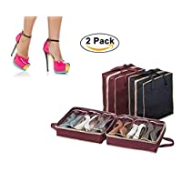 Rubik 2 Pack Portable shoes organizer Bag, Travel Shoe Bags with Zipper for Men & Women 6 grid Shoe Box Shoes Storage Basket, Black/Win Red
