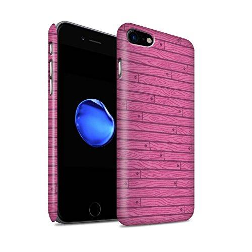 STUFF4 Matte Snap-On Hülle / Case für Apple iPhone 8 / Blau Muster / Holz-Muster Kollektion Rosa