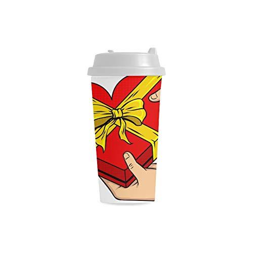 chenke Liebes Jahrestags kundenspezifischer personalisierter Druck 16 Unze Doppelwand Plastikisolierte wasser Flaschen Schalen Pendler Reise Kaffeetassen für Studenten Teetasse ()