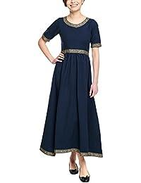 Elbenwald Mittelalter Damen Kleid Ennlin Kurzarm mit Schnürung Baumwolle Blau