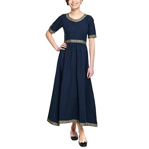 Kostüm Kleid Mittelalterliche - Elbenwald Mittelalter Damen Kleid Ennlin Kurzarm mit Schnürung Baumwolle blau - M