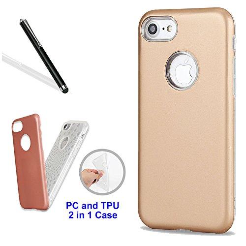 Custodia per iPhone 6S,Cover per iPhone 6,Leeook Cool Nobile Elegante Ibrido 2 in 1 Difficile Indietro PC+Morbido TPU Interno Strati Ultra Sottile Grande Impatto Antiurto Completamente Protettivo Case Oro