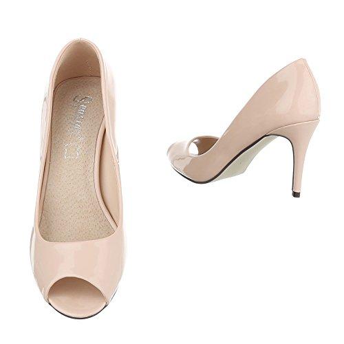 Damen Schuhe Pumps Peep Toe High Heels Stiletto Schwarz Beige