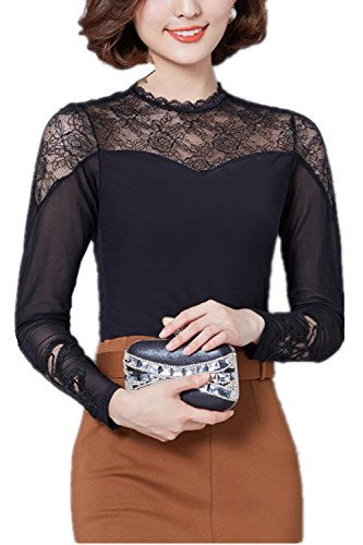 Monissy Femmes Chemise A Manches Longues En Dentelle Chemise Creux Toile Brodée T-shirt Mince Noir
