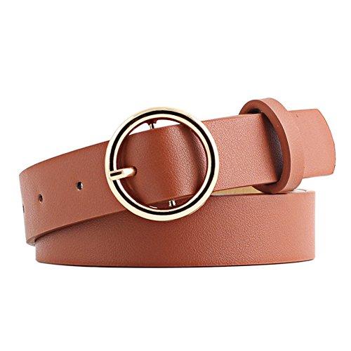 Ishine moda casual rotonda fibbia ad ardiglione cintura da donna, semplice cintura in pelle decorativo