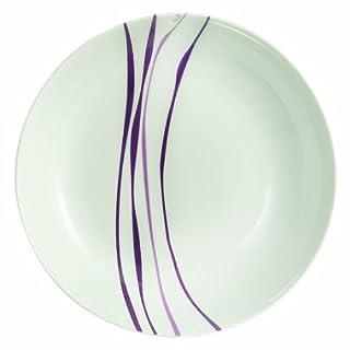 Novastyl 6955104 Lot de 6 Assiettes Calottes Liane Porcelaine Violet 21 x 23 x 4 cm