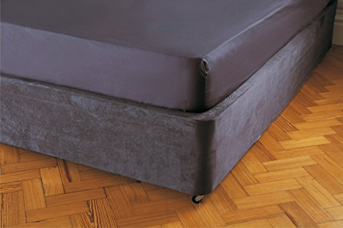 Divan Bed Base Wrap Valance in Double Bed Size in Charcoal Grey 38cm Deep
