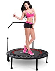 """LBLA 38"""" Foldable Trampoline Mini with Adjustable Handrail for Indoor Fitness Trampoline for Kids Adult Outdoor"""
