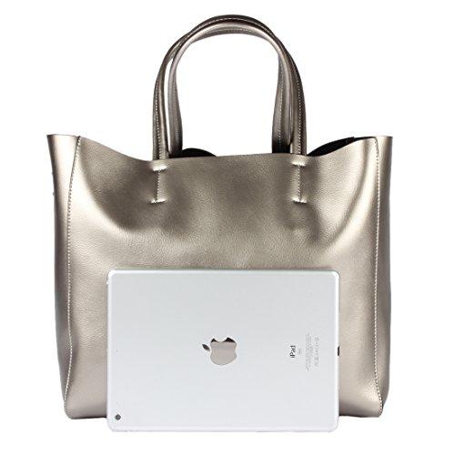 Yiwanda Damen-Handtaschen aus echtem Leder Silber