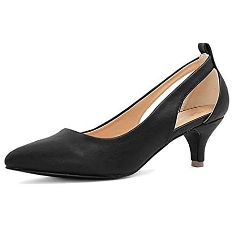 Allegra K Lady's Cutout Sides Pointed Toe Kitten Heel Pumps (Size US 10.5) Black