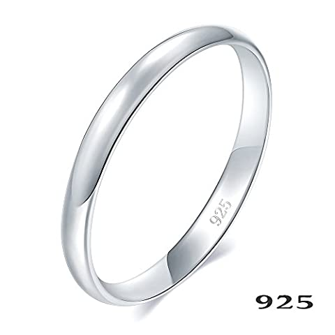 925 Sterling Silver Ring High Polish Plain Dome Tarnish Resistant Comfort Fit Wedding Band 2mm Ring Size L