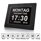 8-Zoll-Digital-Fotorahmen, elektronische Uhr Wanduhr Wecker, Zeitkalender Foto-Video-Display, Helligkeit Musik Erinnerung einstellbare Uhr (schwarz)