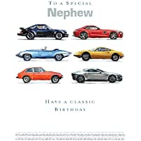 Nephew Birthday Card (LD-GH0915) - Classic Cars - Various Watercolour Cars - from The Ling Design Range - Foiled Finish
