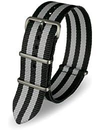 Davis - Bracelet Montre Nato Nylon Noir et Gris 24mm Haute Qualité