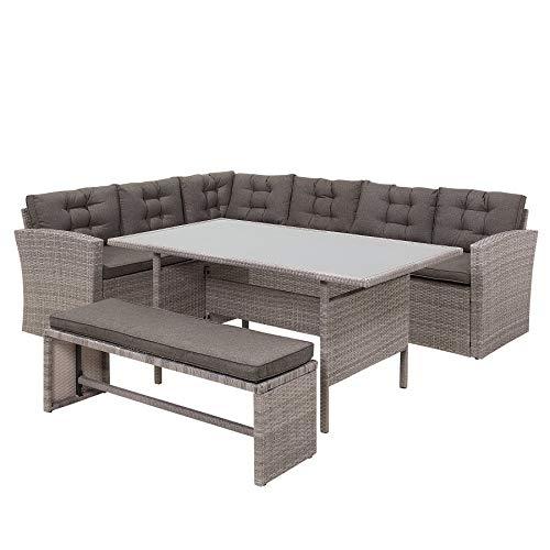 Beliani Lounge Set Rattan grau VITERBO