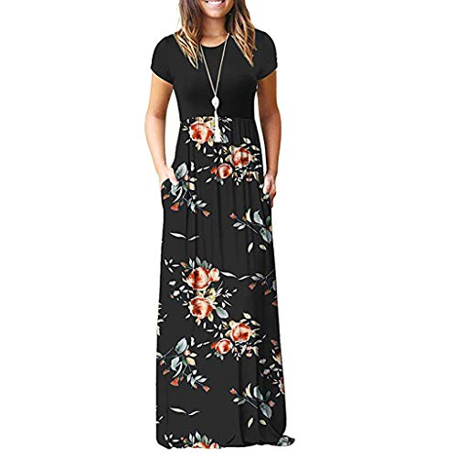 602fd2c658 Momoxi 2019 Summer Women s Casual Sleeve O-Neck Print Maxi Tank Long Dress  100%
