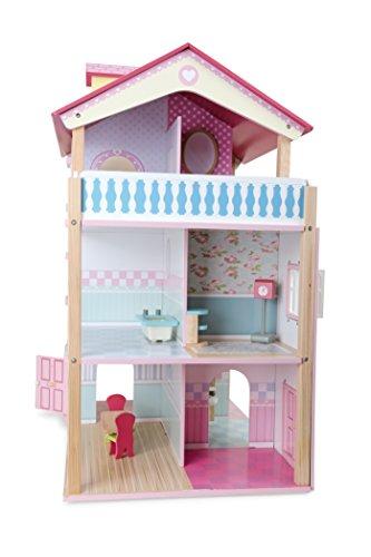 Puppenhaus Rosa Dach aus Holz, inkl. 21 farbenfrohen Möbelstücken, Spielspaß auf 3 Etagen, mit drehbarem Sockel, offene Seiten für einfaches Bespielen - 3