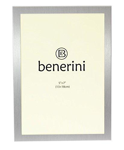 benerini 5 x 7 (13 x 18 cm) Satin Silber Farbe Alu gebürstet - Bilderrahmen Geschenk - Hoch-oder Querformat - Schwarze Satin-holz Standfüße