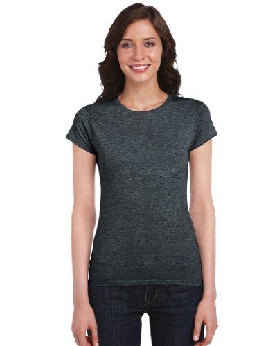 Gildan Damen T-Shirt 'Fitted Ring Spun' 64000L Dark Heather M (64000l T-shirt)