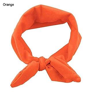 ALCYONEUS Women Yoga Elastic Cute Bow Hairband Turban Knotted Rabbit Hair Band Headband - Orange