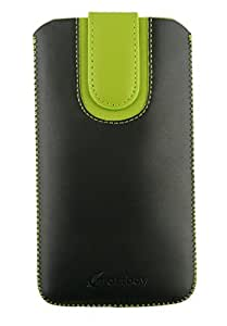 Emartbuy® Black / Green Plain Premium PU Leather Slide in Pouch Cover ( 4XL ) With Pull Tab Suitable For Ecoo Shining Pro 5.5 Inch