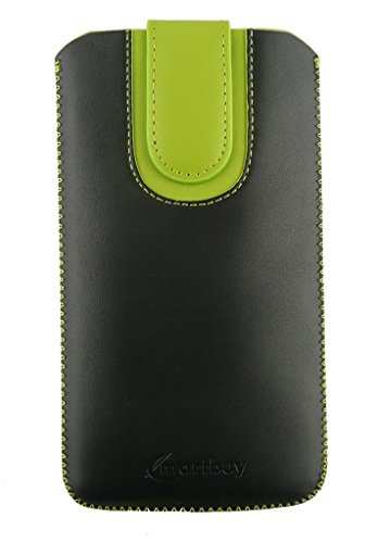 Emartbuy® Black/Green Plain Premium PU Leather Slide in Pouch Case Cover Sleeve Holder ( Size LM4 ) With Pull Tab Mechanism Suitable For Lava Xolo Q2000  available at amazon for Rs.399