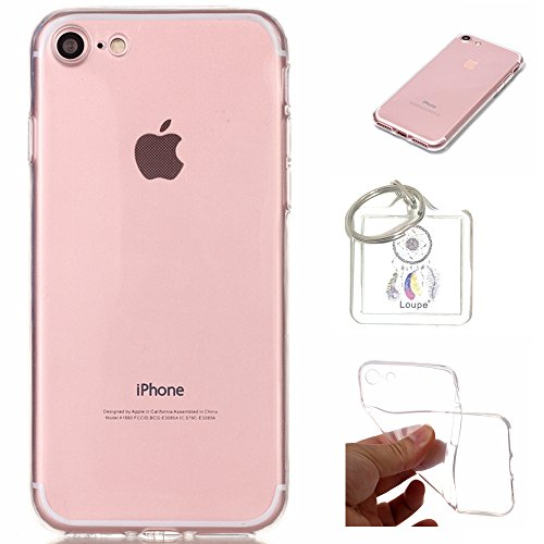 Preisvergleich Produktbild Hülle iPhone 8/iPhone 7 (4,7 Zoll) Hülle Soft Flex Transparent Silikon TPU Handyhülle Schutzhülle für iPhone 8/iPhone 7 (4,7 Zoll) Case Cover - Crystal Clear + Schlüsselanhänger (P) (1)