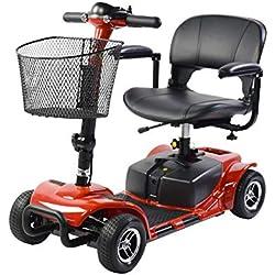 SABWAY® Scooter Eléctrico con Asiento 4 Ruedas 180 W Rojo - Movilidad Reducida con Silla Conducción Médica