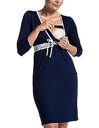 193b929ba Vestido de Las Mujeres Embarazadas 3 4 Manga Moda Encaje Costura Multifuncional  Vestido de enfermería