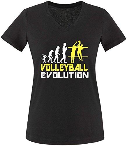 EZYshirt® Volleyball Evolution Damen V-Neck T-Shirt Schwarz/Weiss/Gelb