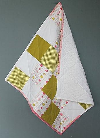 Couverture patchwork quilt bébé blanc et vert