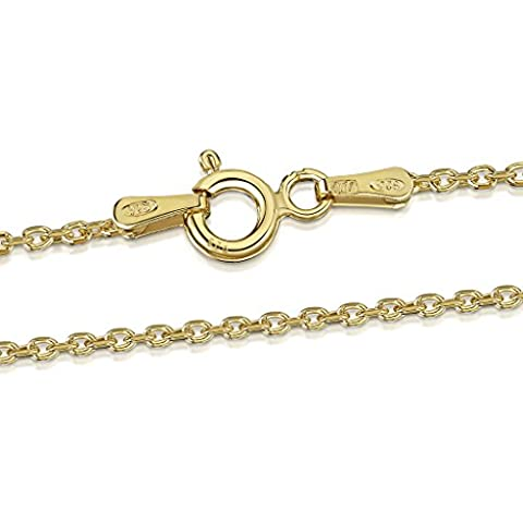 Amberta 18K Gold Plated on 925 Sterling Silver 1.3 mm Diamond Cut Trace Chain Necklace Length 18