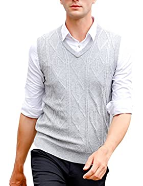 Zhhlaixing De los hombres Mens Father Middle-aged Solid Color Soft V-neck Wool Knitted Knitwear Pullover Jumper...