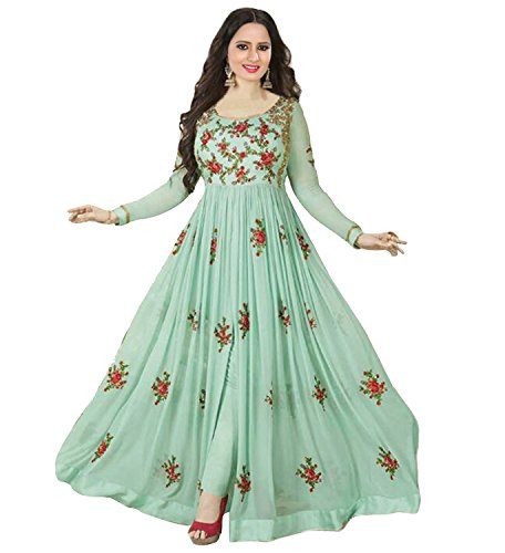 RTHub Women's Net Embroidered Semi Stitched Anarkali salwar suit (Sky-Blue_Free-Size_Aone-Sky-Blue)