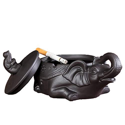 LIXUAN Lila Ton Aschenbecher Mit Deckel Aschenbecher Mit Abdeckung Zigarre Im Freien Aschenbecher Winddicht Rauchfrei Basteln Dekoration Dekor Keramik Ornament, Black